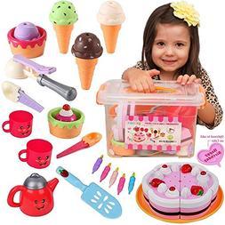 FUNERICA Pretend Play Food Ice Cream - Toy Food Desserts Cak