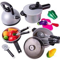 iPlay, iLearn Kids Kitchen Pretend Play Toys, Cooking Set, P