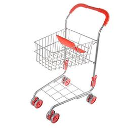 Pretend Play Shopping Cart- Toy Grocery Cart With Pivoting F