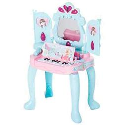 Qaba 2-In-1 Kids Pretend Play Set Piano Princess Vanity Tabl