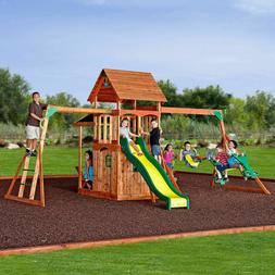 Saratoga Cedar Swing/Play Set Upper play deck with wood roof