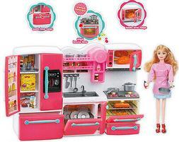 Kitchen Play Set Set For Barbie Furniture Cocina Food Doll T