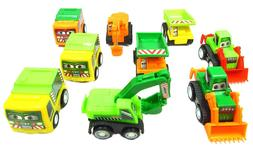 Set of 9 Assorted Toy Construction Vehicle Play Set