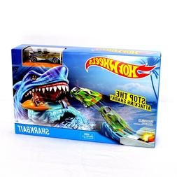HOT WHEELS Shark Bait Track Play Set Silver Yellow Race Car