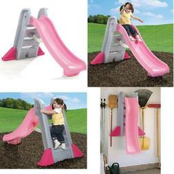 Sliding Naturally Playful Big Folding Pink Outdoor Slide for