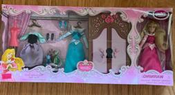 "Disney Store Princess Aurora  5"" Mini Doll Wardrobe Play Set"