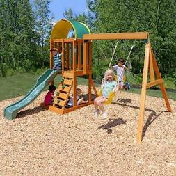 Wooden Swing Set Kids Sandbox Playground Activity Play Exerc