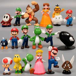Super Mario Bros 18pcs Action Figure Doll Playset Figurine G