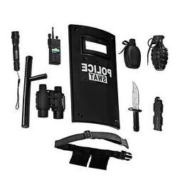 SWAT Police Officer Toy Play Set Costume Plastic Shield Knif