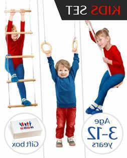 Swing Ladder Rings For Kids Boys Girls Outdoor Indoor Gym Pl