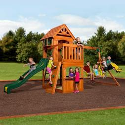 Backyard Swing Set Cedar Wooden Slide Climbing Outdoor Playg