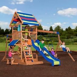 Swing Set Backyard Beach Jungle Wooden Cedar Playset Slide K