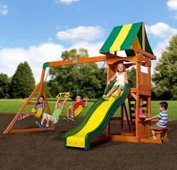 swing set cedar wooden slide ladder outdoor