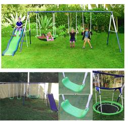 Swing Set For Small Yard Backyard Metal Playground Slide Fun