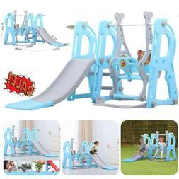 Swing Set Kids Playground Climber Sliding w/Basketball Hoop