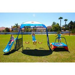Swing Set With Trampoline Children Kit Outdoor Metal Playset