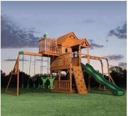 Swing Sets For Big Kids Outdoor Wood Clubhouse Fort Climbing