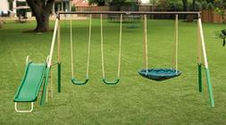 Swingset Kids Playset Backyard Fun Playground Swings Slide O