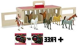 Take-Along Show Horse Stable 4-Piece Figure Play Set + FREE