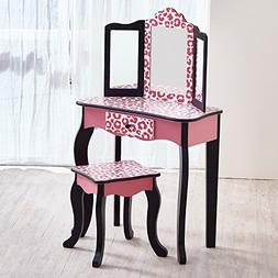 Teamson Kids - Fashion Prints Girls Vanity Table and Stool S