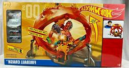 Hot Wheels Throwback Fireball Crash Track Set Playset With 5