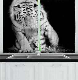 Tiger Curtains Large Cat Plays in Water Window Drapes 2 Pane