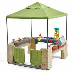 Kids Patio Playhouse with Canopy Toddler Outdoor Backyard In