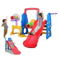 Toddler Slide & Swing Set Kids Playset Playground Toy w/Bask