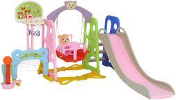Toddler Slide and Swing Set Kids Slide Playset Playground To