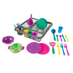 Kids Toy Play Dishes Tableware Dish Drainer Plates Forks Cup