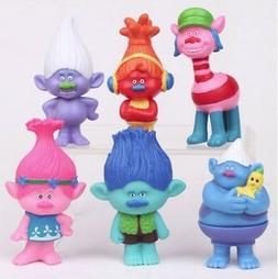 Trolls Figure 6 Pcs Cake Topper play set Doll USA Seller FAS