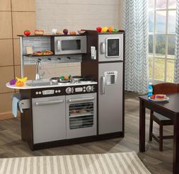 KidKraft Uptown Espresso Kitchen with 30 Piece Play Food Acc