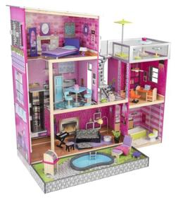 Uptown Wooden Dollhouse Doll House Kids Girls Play Set Toy 3