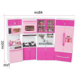 USA Kitchen Playset For Girls Pretend Play Cabinet Toy Cooki
