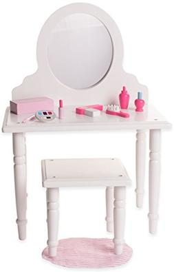 18 Inch Doll Vanity and Stool Set with Makeup Accessories- P
