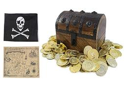 "Large Wooden Pirate Treasure Chest Kids Toys 6.5"" x 4.5"" x 5"