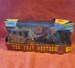 western play set in box.cowboys horses ,stage coach