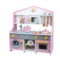 Goplus Kids Wood Kitchen Toy Cooking Pretend Play Set Toddle
