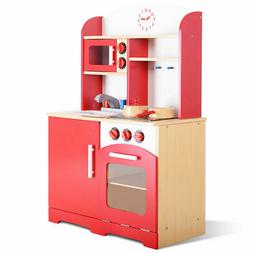 Wood Kitchen Toy Kids Cooking Pretend Play Set Toddler Woode