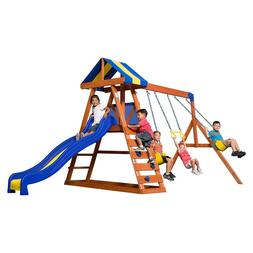 wood swing set kids playground slide playset