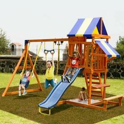 Wood Swing Set.Multi-level Backyard Playset for kids Climbin