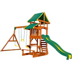 Wood Swing Set Outdoor Playground Kid Play House Swingset Ba
