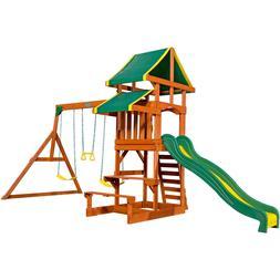 Wood Swing Set Outdoor Playground Kid Play House Swingset Ba