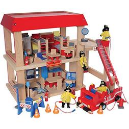 Constructive Playthings Wooden Firehouse Play Set with 4 Fir