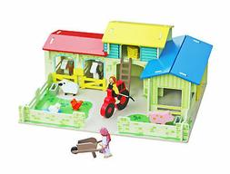 Wooden Meadow Farm Doll House Country Animals Toddler Play S