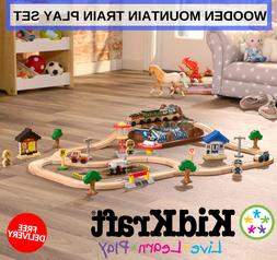 Wooden Mountain Train Play Set With 56 Pieces Included Kidkr