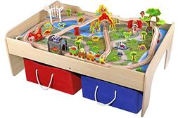 Pidoko Kids Wooden Multi Activity Play Train Table, Natural