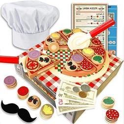Wooden pizza toy for kids Pizza Play Food Set - Wooden play