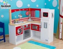 New Kidkraft Wooden Red Corner Kitchen