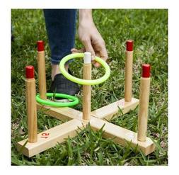 CHAMPION Wooden Ring Toss Play Set Outdoor Indoor Fun Game C